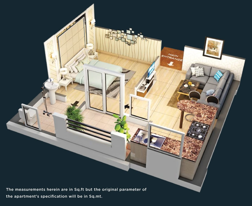 Purvanchal Royal Square Studio Apartments Floor Plan